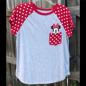 Disney Minnie gray, red and white t-shir…